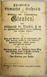 CHRISTLICHES GEMUTHS-GESPRACH - 1769 [1st US Ed]