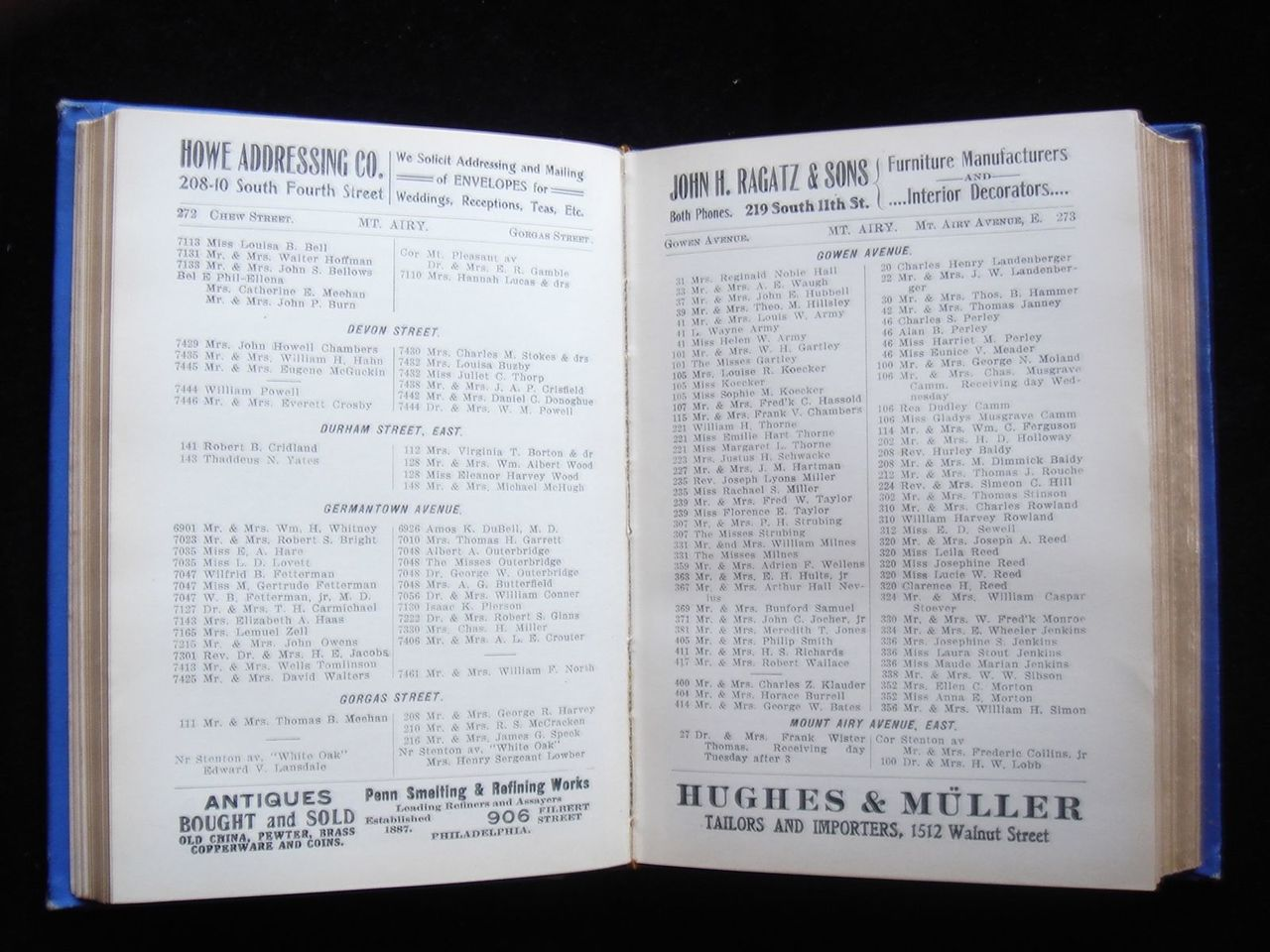 BOYD'S PHILADELPHIA BLUE BOOK, Elite Directory - 1908