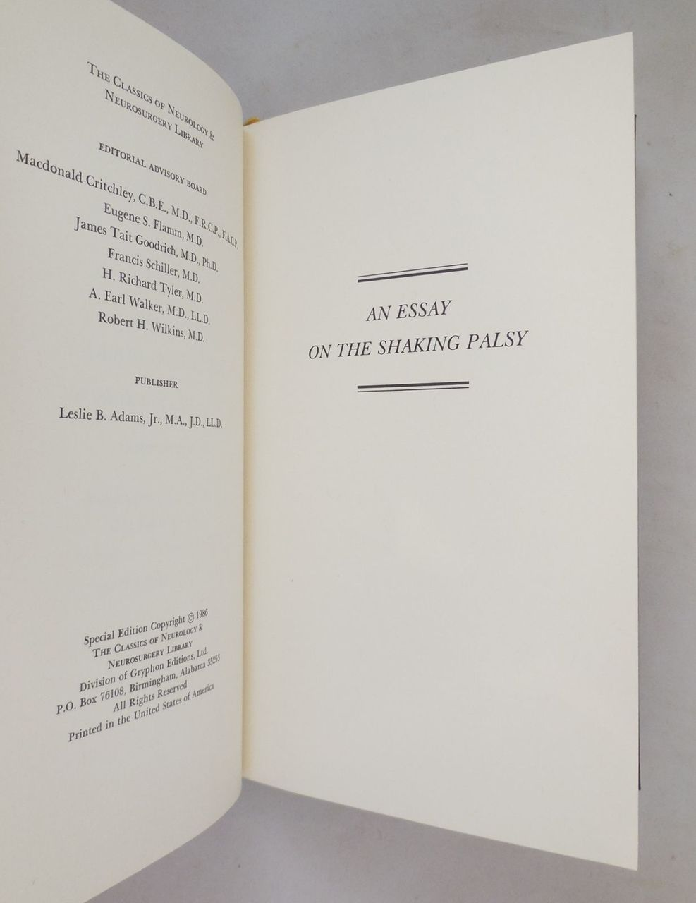 AN ESSAY ON THE SHAKING PALSY, by James Parkinson - 1986 [Ltd Ed] leatherbound