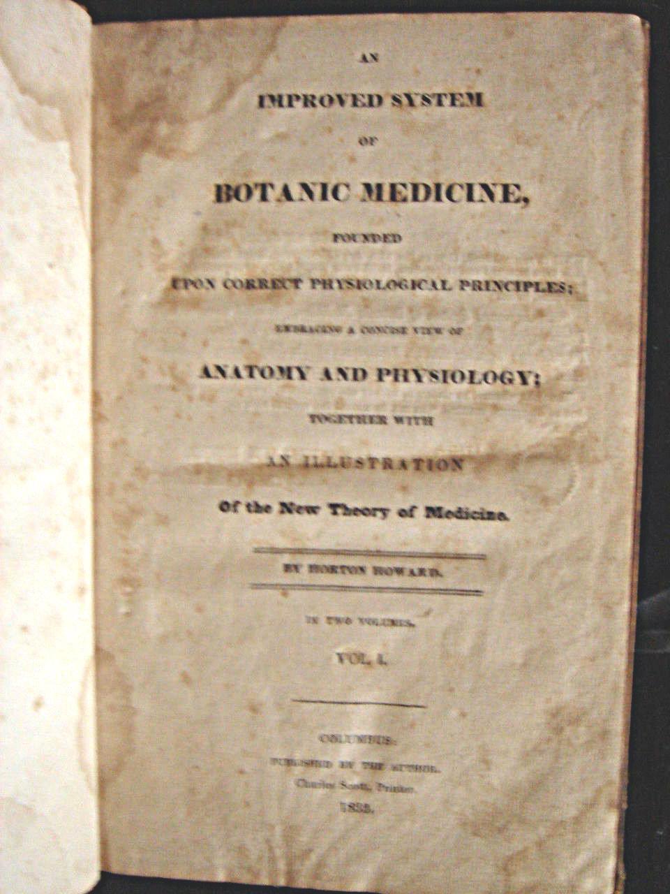 AN IMPROVED SYSTEM OF BOTANIC MEDICINE, by Horton Howard - 1832