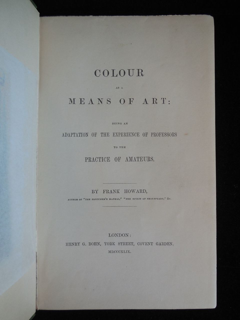COLOUR AS A MEANS OF ART, by Frank Howard