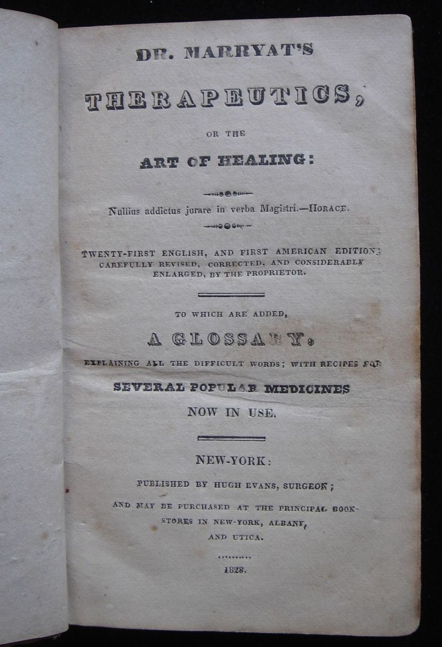 DR. MARRYAT'S THERAPUTICS, OR THE ART OF HEALING - 1828 [1st US Ed]