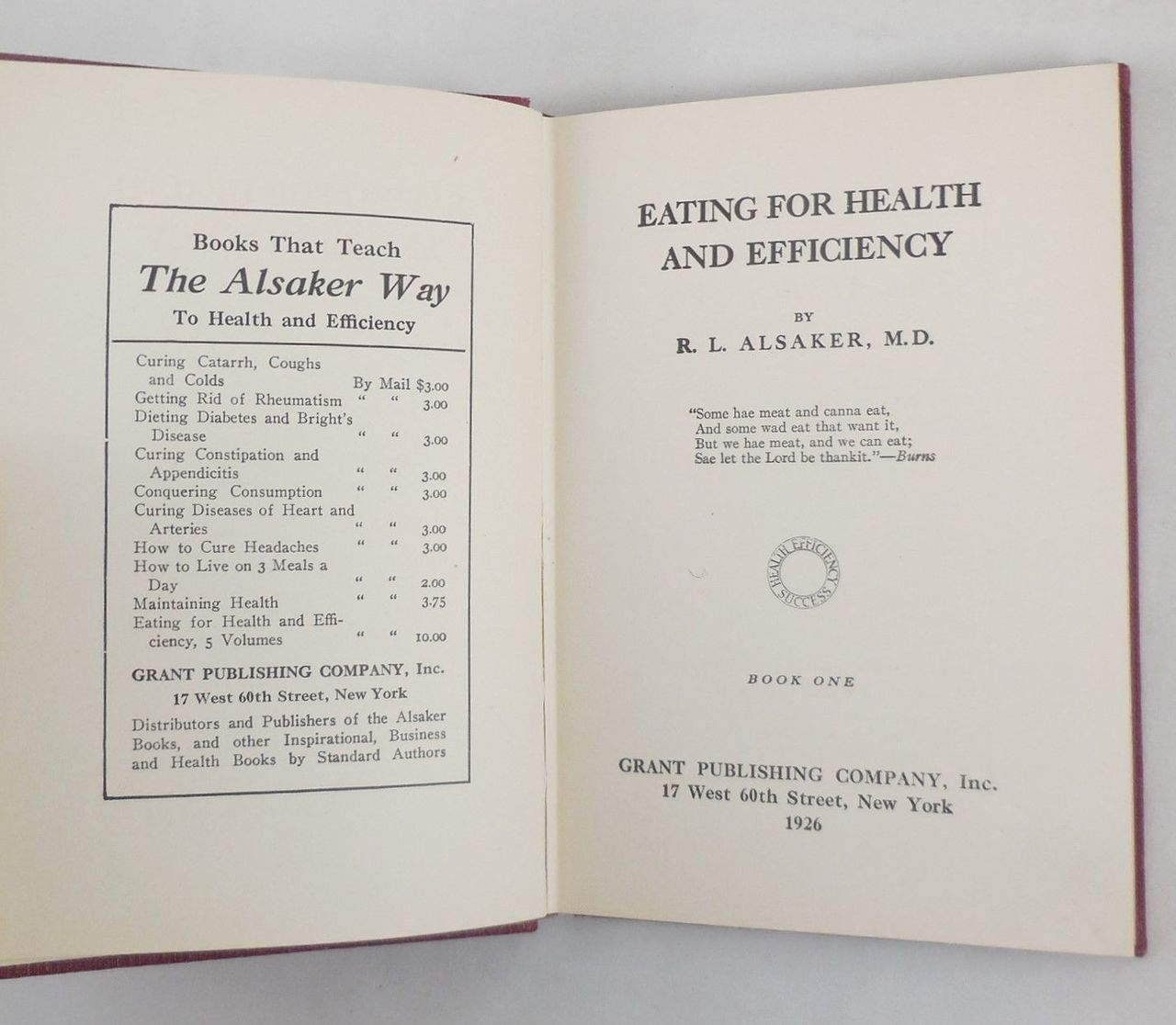 EATING FOR HEALTH AND EFFICIENCY, by R.L. Alsaker - 1926 [5 vols]