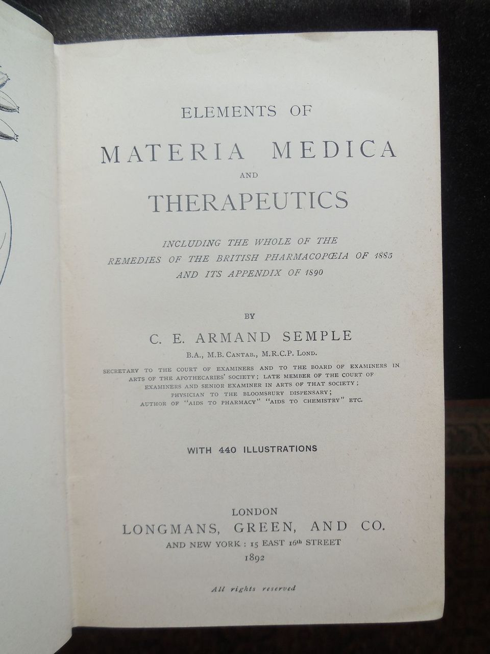 ELEMENTS OF MATERIA MEDICA/THERAPEUTICS, by Armand Semple - 1892