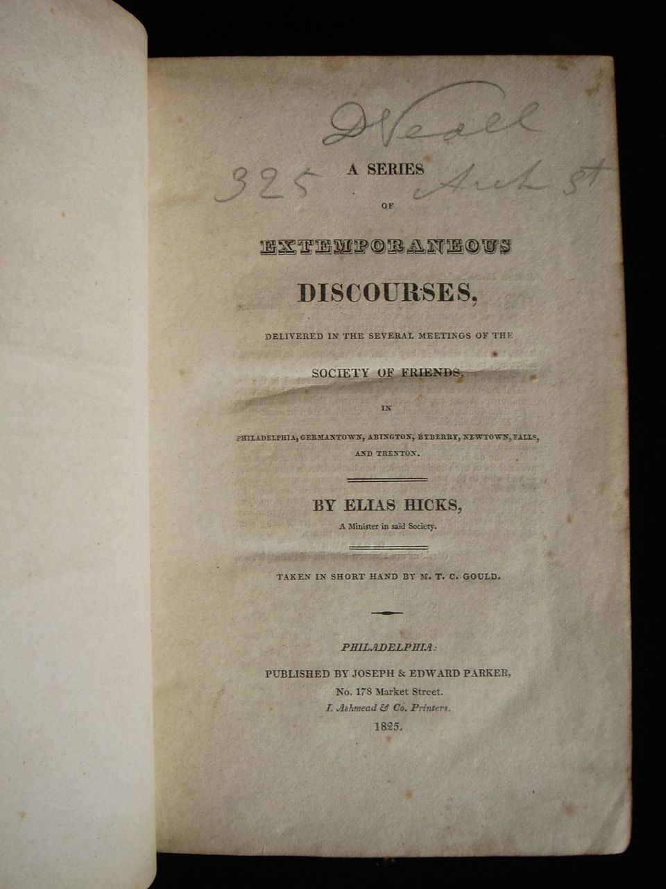 A SERIES OF EXTEMPORNEOUS DISCOURSES, by Elias Hicks - 1825