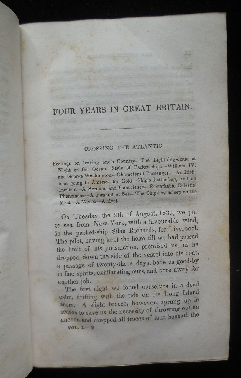 FOUR YEARS IN GREAT BRITAIN 1831-1835 VOLUMES I & II, by Calvin Colton 1835