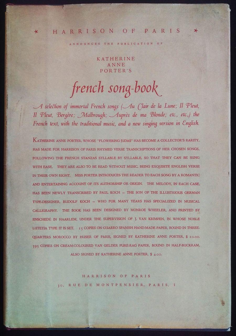 FRENCH SONG-BOOK Katherine Anne Porter 1933 with English Lyrics Music  SCARCE DJ