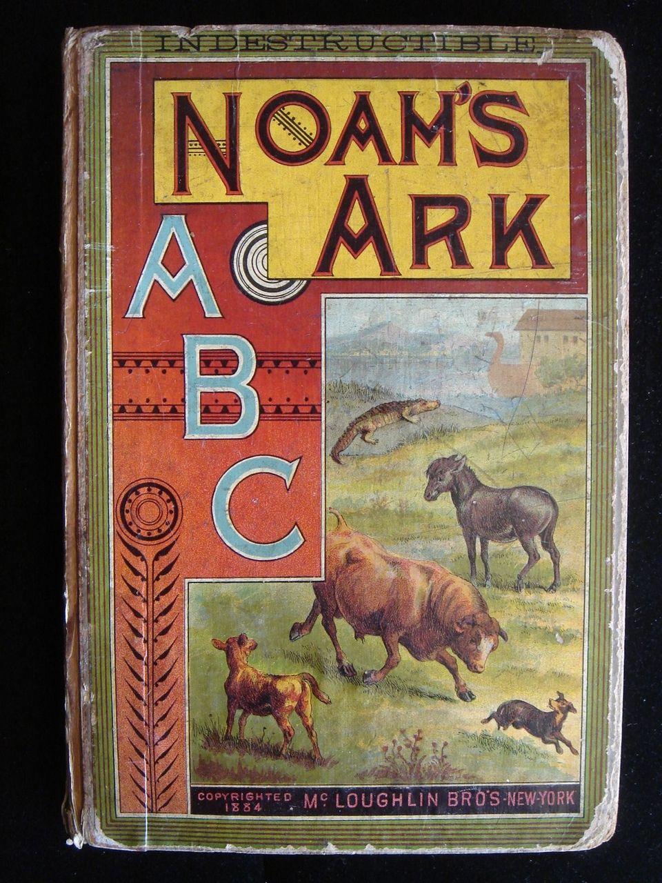 Indestructible Noah's Ark ABC McLoughlin Bros Children Illustrated Picture 1884