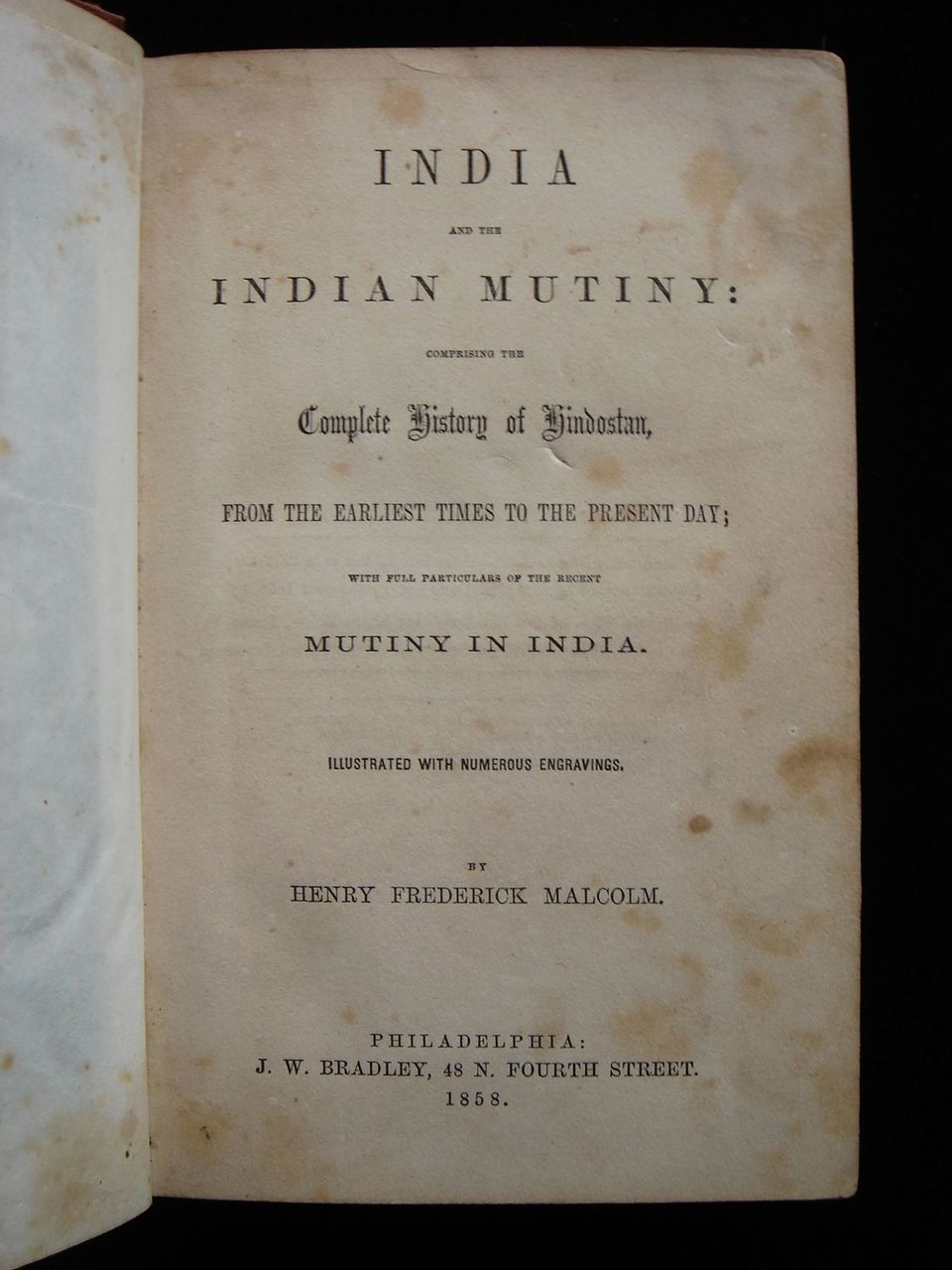 INDIA AND THE INDIAN MUTINY, by Henry Malcolm - 1858 [1st Ed]