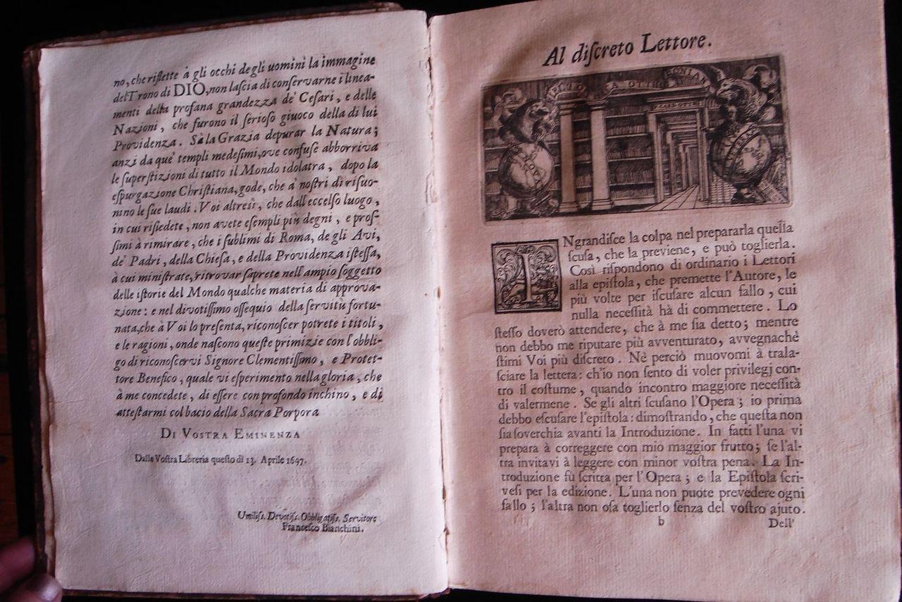 LA ISTORIA UNIVERSALE, by Francesco Bianchini - 1697 [1st edition]