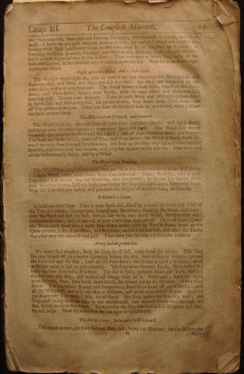 MARINER's MAGAZINE: STURMY's Mathematical & Practical Navigatigation - 1700