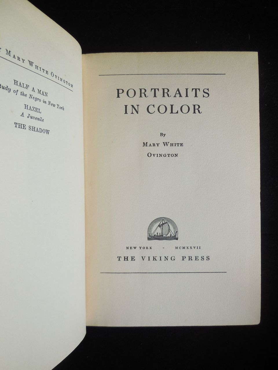 PORTRAITS IN COLOR, by Mary White Ovington - 1927 [1st Ed]