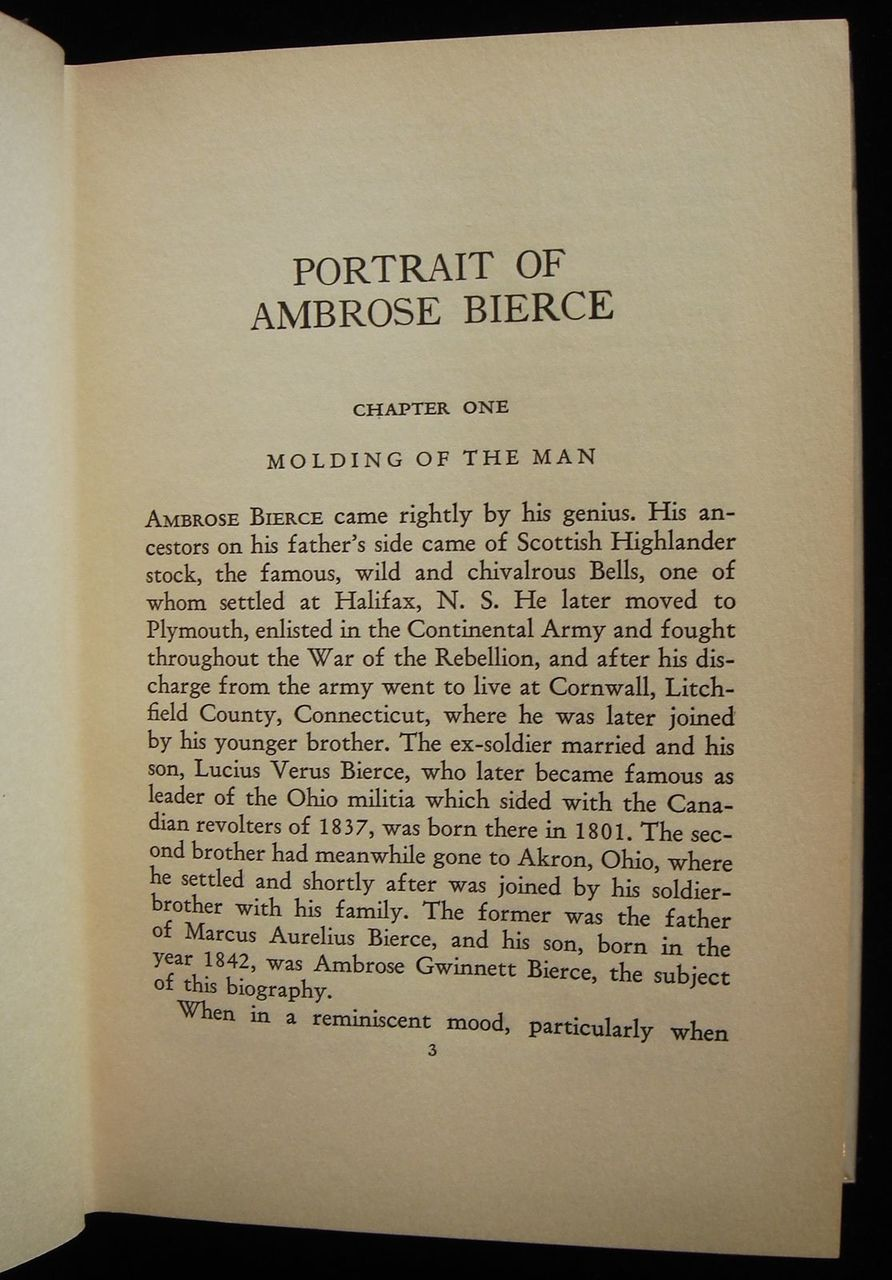 PORTRAIT OF AMBROSE BIERCE, by Adolphe De Castro 1929 First Edition Biography