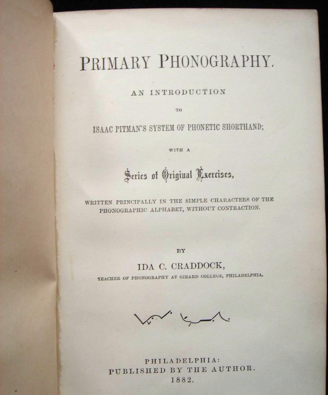 PRIMARY PHONOGRAPHY (Pitman), by Ida C. Craddock - 1882 [1st Ed]