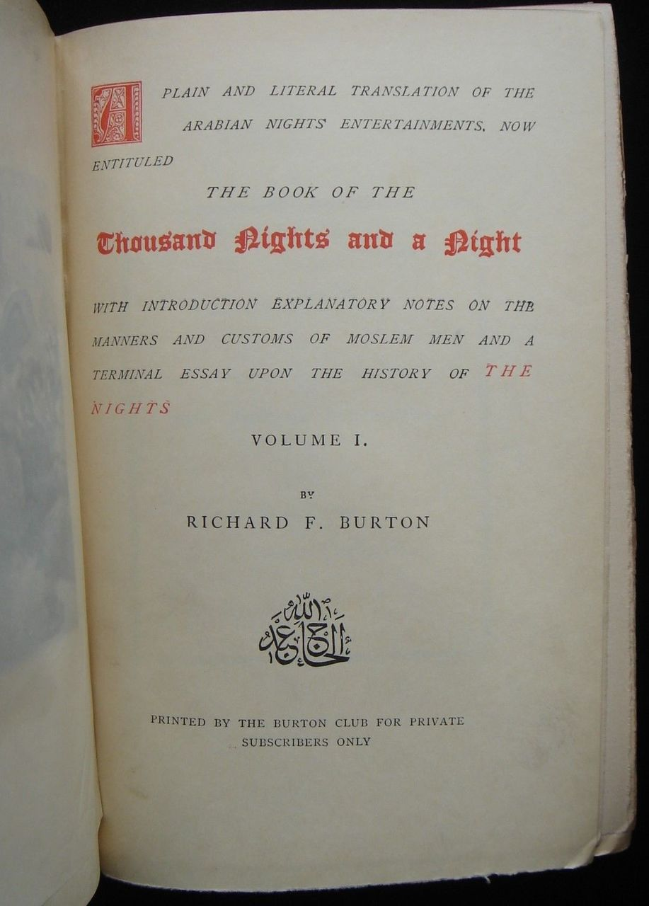 THE BOOK OF THE THOUSAND NIGHTS AND A NIGHT, Vols. 1-17, by Richard F. Burton