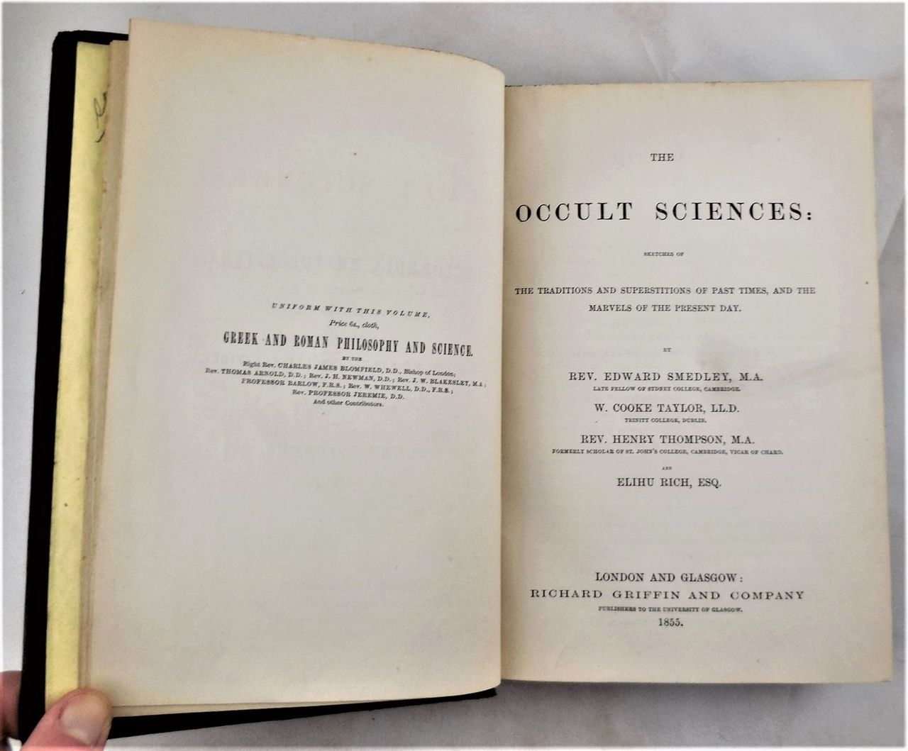 THE OCCULT SCIENCES, Smedley, 1855, occult history, traditions &  superstitions