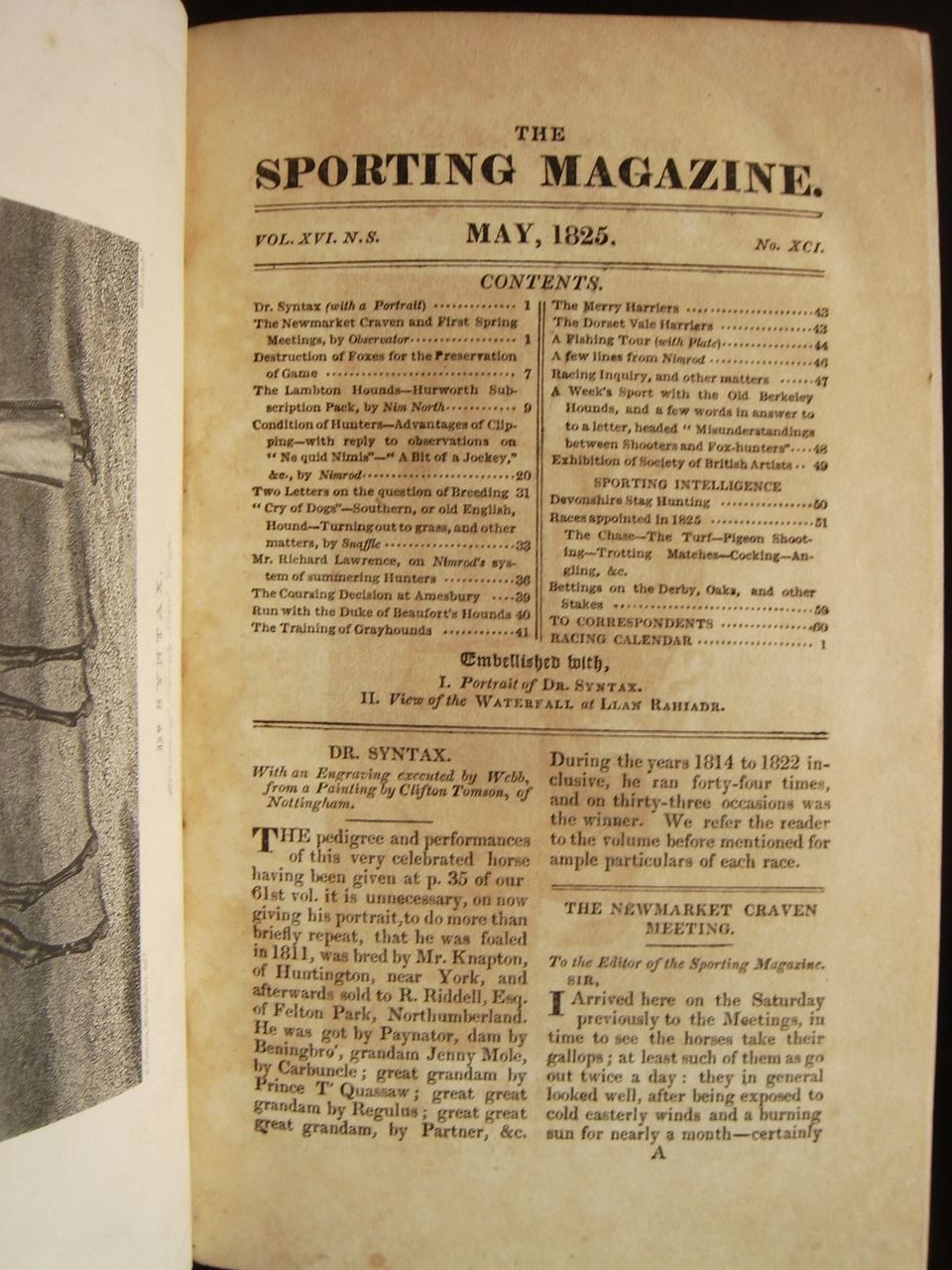 THE SPORTING MAGAZINE, Bound: v.16, by J.Pittman with Nimrod - 1825 [rebacked]
