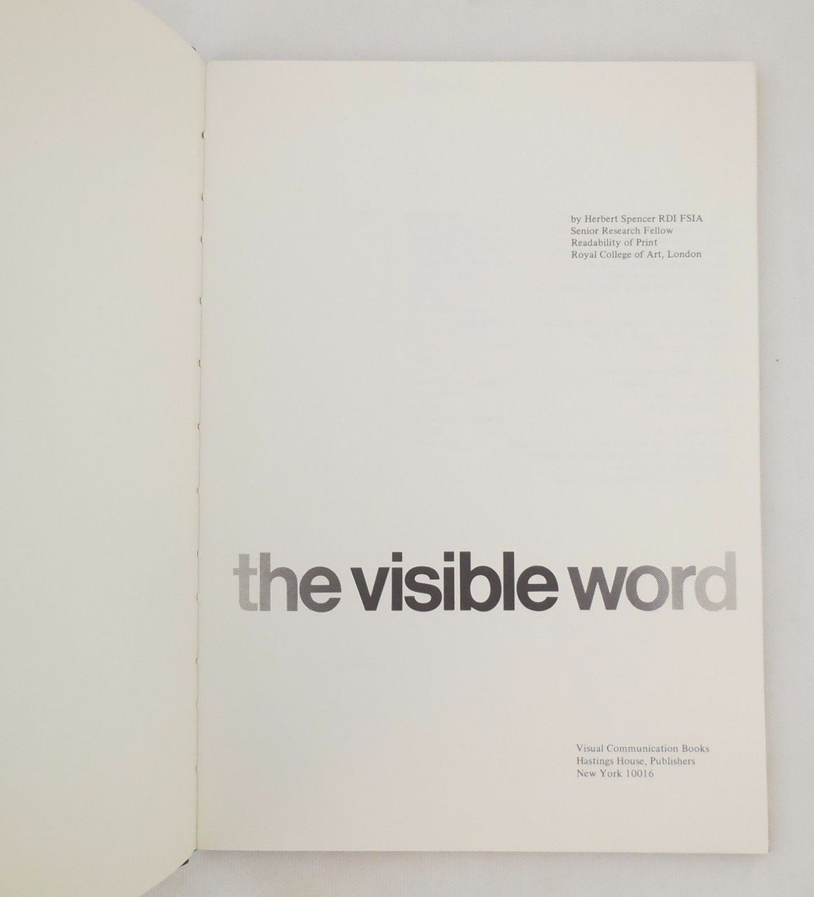 THE VISIBLE WORD, by Herbert Spencer - 1969