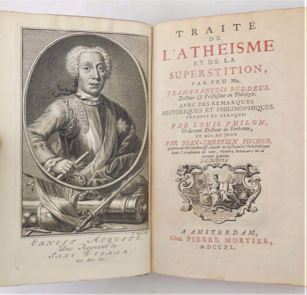 TRAITE DE L'ATHEISME & DE LA SUPERSTITION, JF Buddeus- 1740 leatherbound atheism