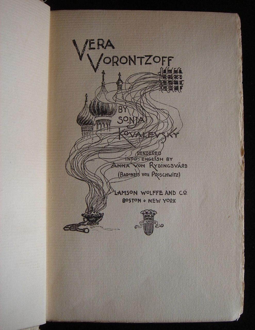 VERA VORONTZOFF, by Sonya Kovalevsky; Anna von Rydingsvard (tr) - 1895
