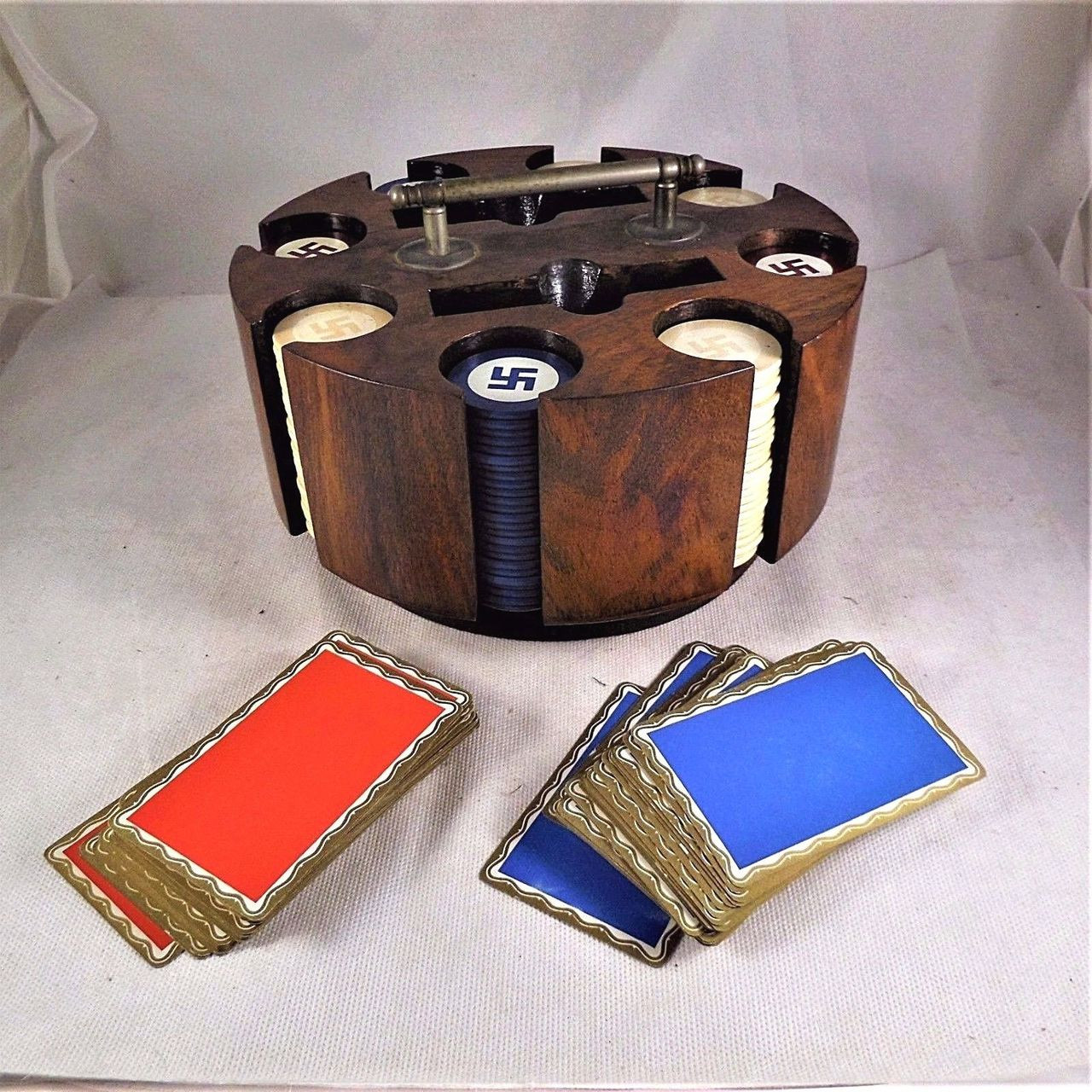 """Vintage POKER SET with caddy and Swastica """"GOOD LUCK"""" chips"""