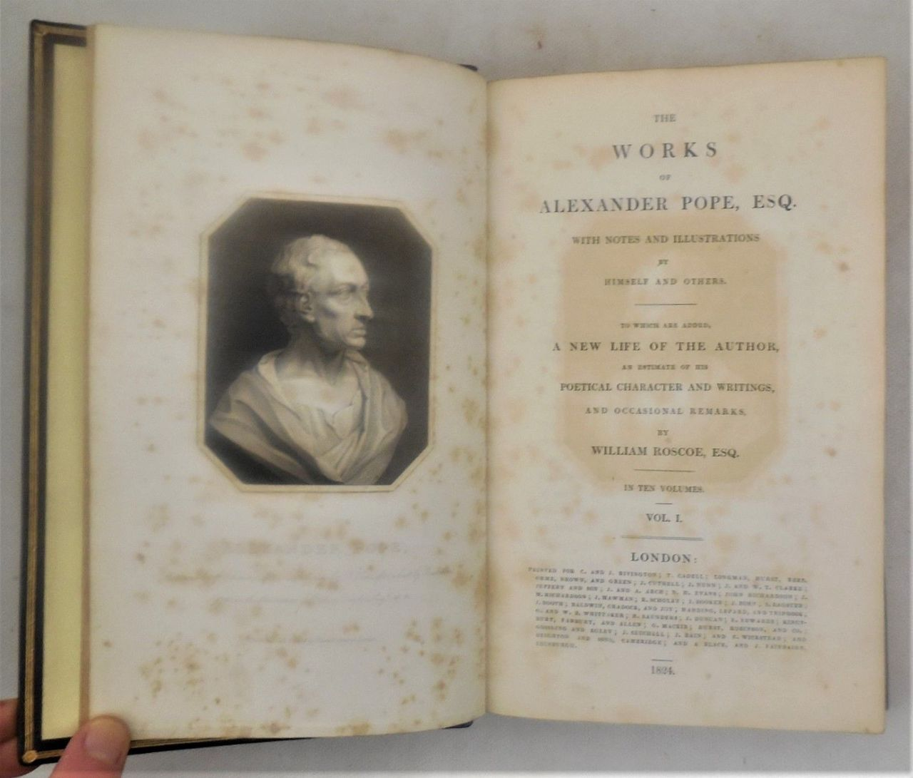 THE WORKS OF ALEXANDER POPE, by William Roscoe - 1824 [10 Vols]