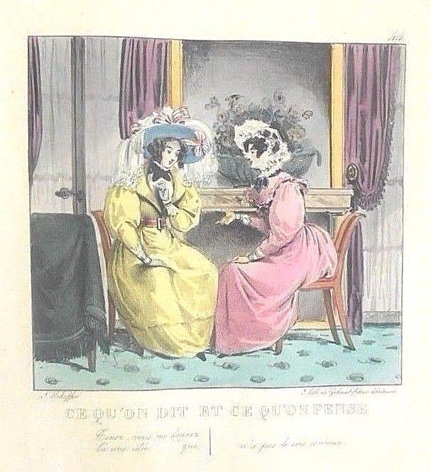 CE QU'ON DIT ET CE QU'ON PENSE, by Scheffer Gabriel -1829 [rebound lithos]