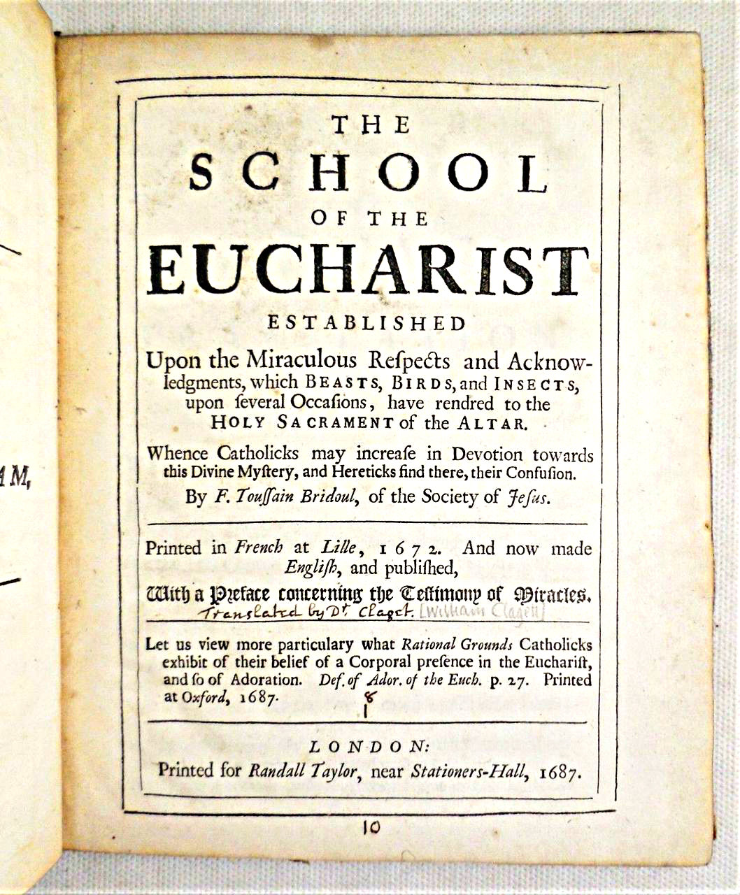 THE SCHOOL OF THE EUCHARIST, by F. Toussain Bridoul - 1687 [1st Ed]