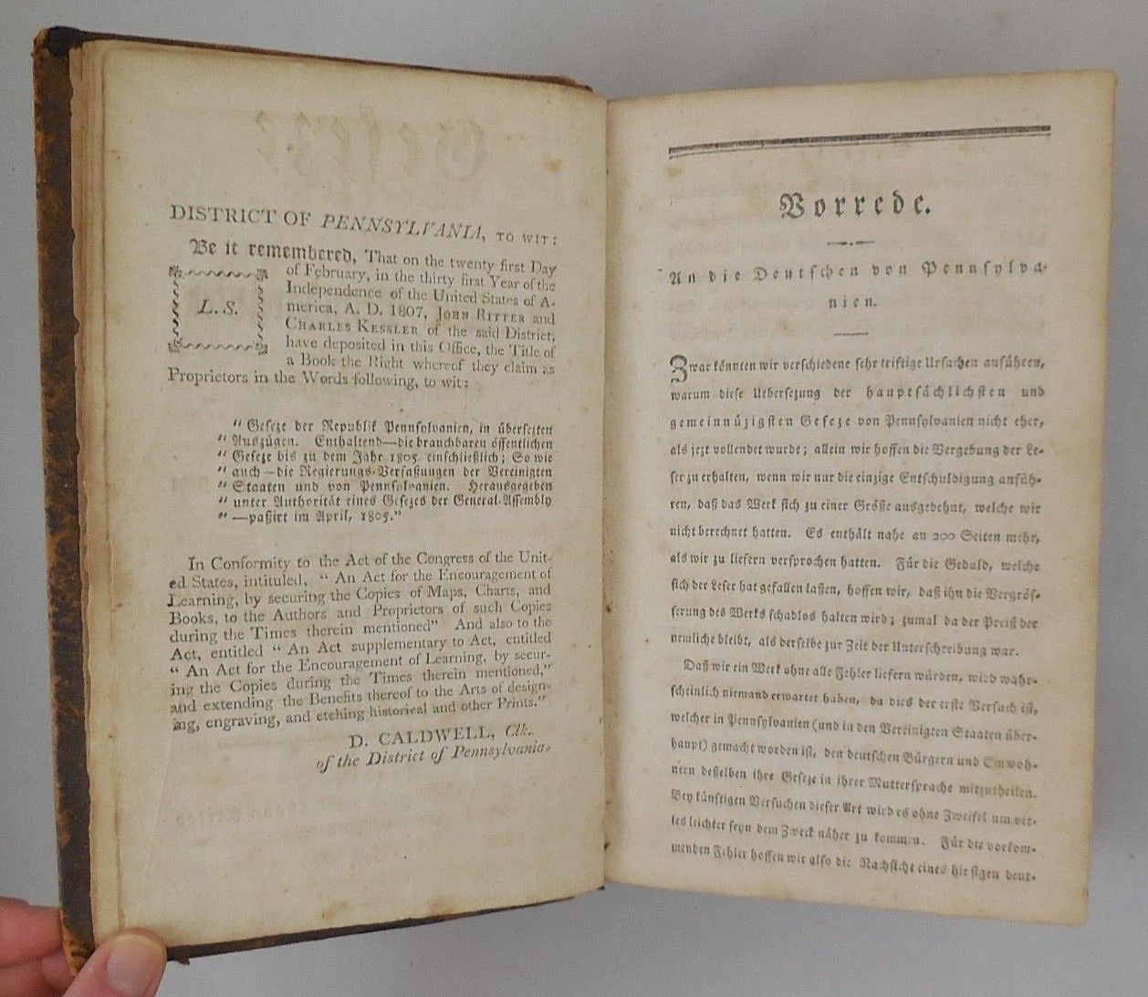 GESEZE DER REPUBLIK PENNSYLVANIEN - 1807 [German]