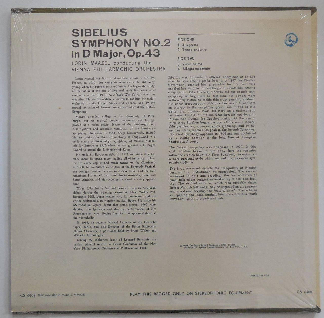 LP: Jean Sibelius' SYMPHONY No.2 in D Maj, Op.43, by Vienna Philharmonic - 1963 [SEALED]