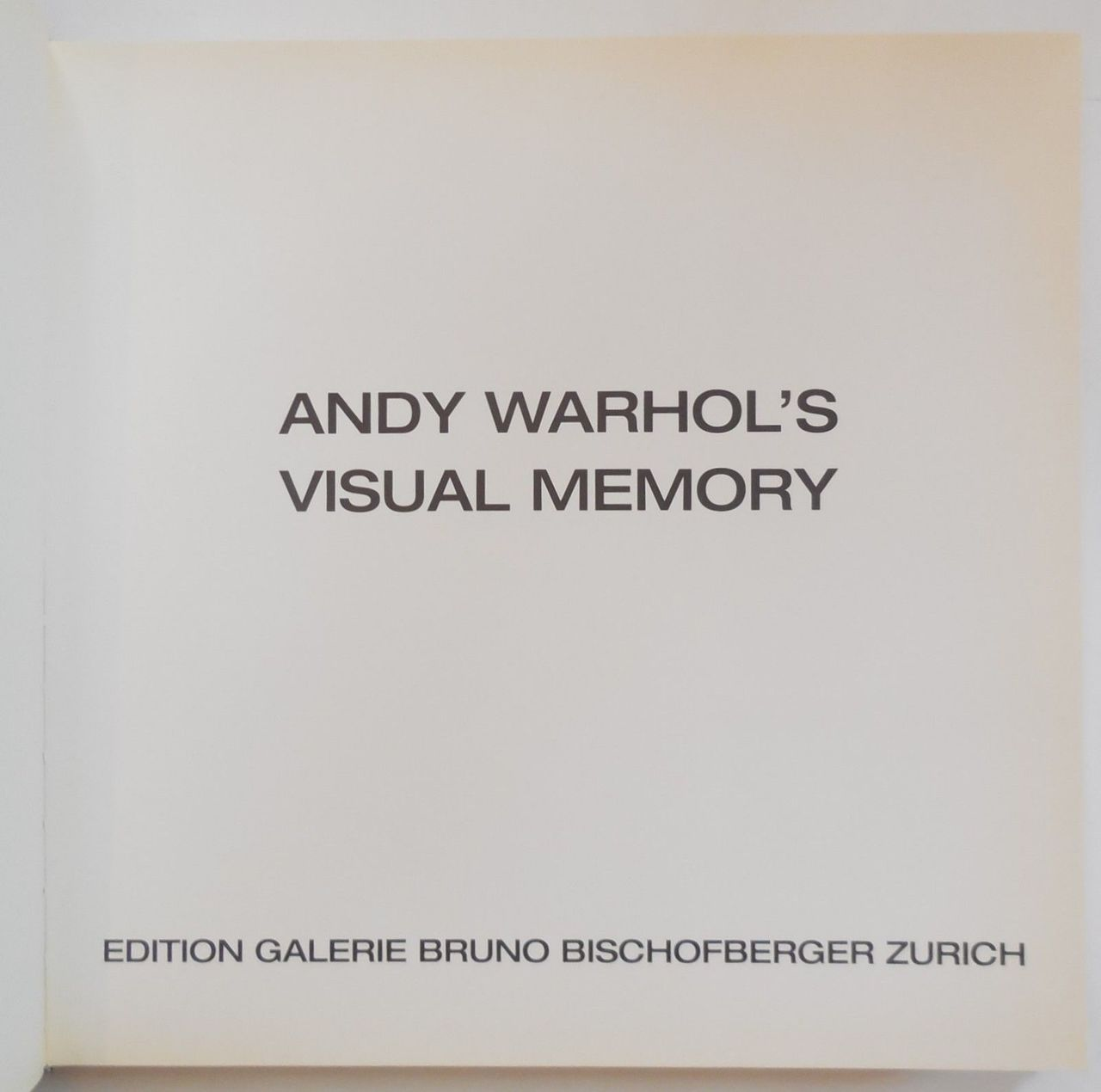 ANDY WARHOL'S VISUAL MEMORY, by Bruno Bischofberger - 2001