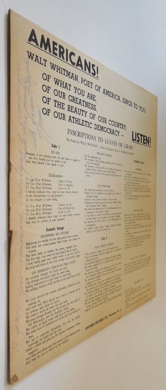 LP: WALT WHITMAN'S IMMORTAL SONGS: INSCRIPTIONS TO LEAVES OF GRASS [OBSCURE]