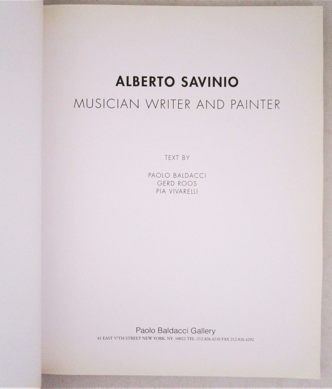 ALBERTO SAVINIO: MUSICIAN WRITER AND PAINTER - 1995 Surrealism Modern Catalog PB