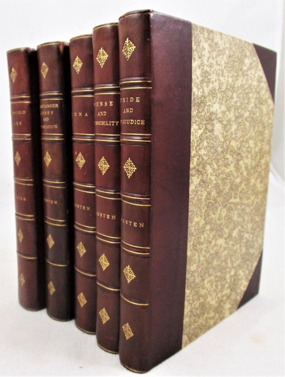 FIVE NOVELS BY JANE AUSTEN - 1888 [5 Vols] Leatherbound Stokes Pride & Prejudice
