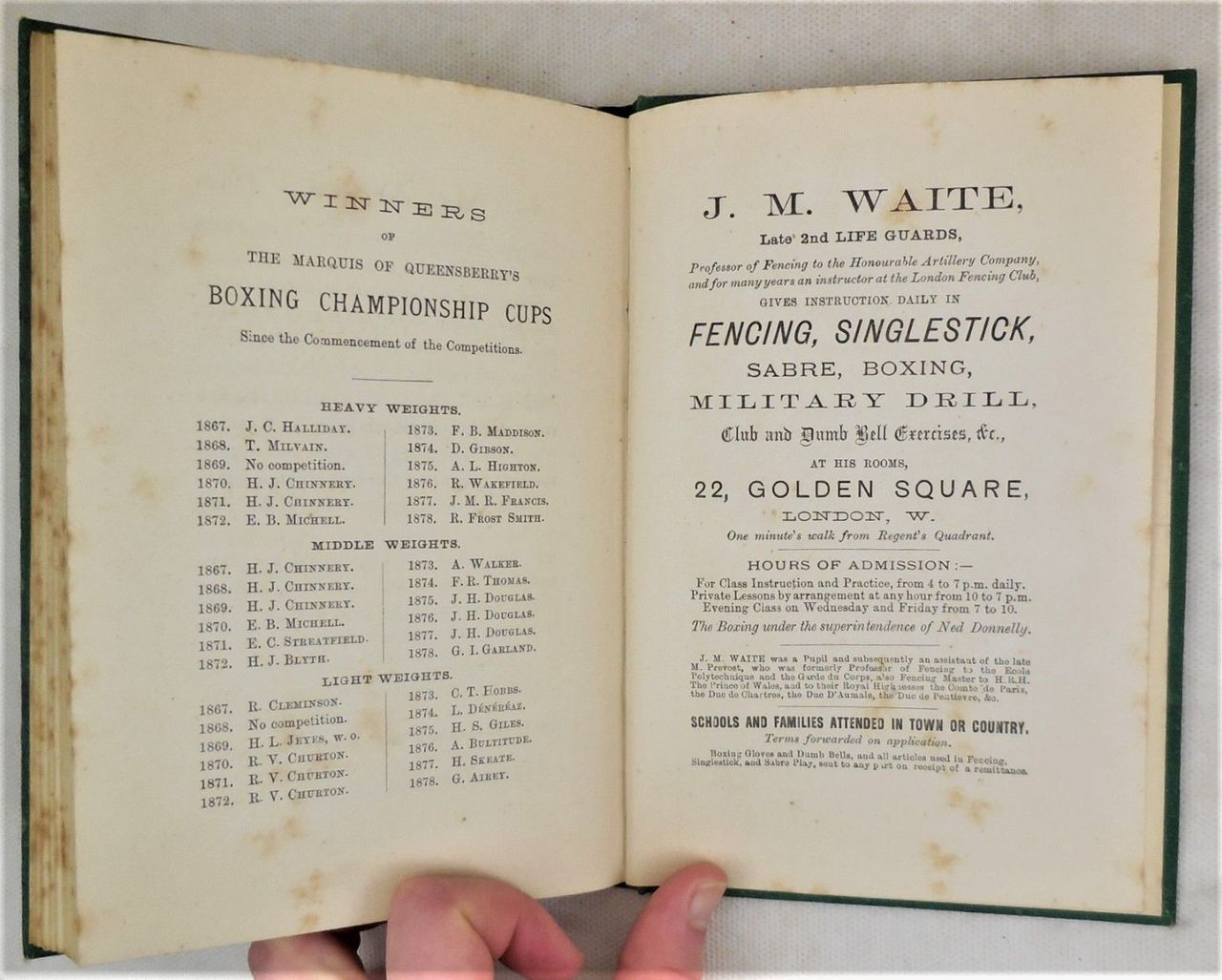 SELF DEFENCE: OR, THE ART OF BOXING, by Ned Donnelly; J.M.Waite - 1879