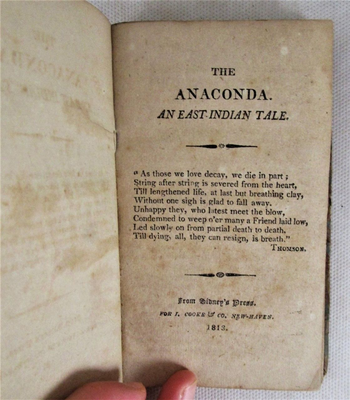 THE ANACONDA: AN EAST INDIAN TALE, by Matthew Gregory Lewis -1813