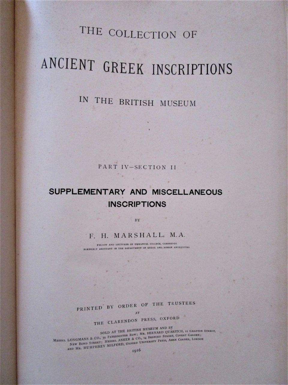 ANCIENT GREEK INSCRIPTIONS IN THE BRITISH MUSEUM, CT Newton c.1900 [6vols] XL HB