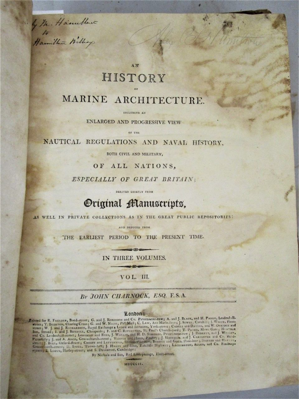 AN HISTORY OF MARINE ARCHITECTURE, by John Charnock - 1801 [1st Ed, 3 Vols]