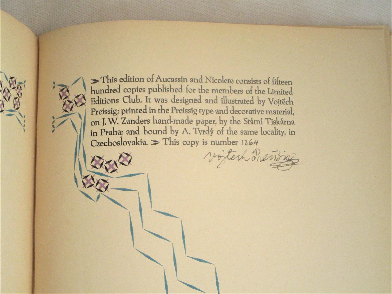 AUCASSIN & NICOLETE, by Vojtech Preissig & Andrew Lang - 1931 [Signed Ltd Ed]