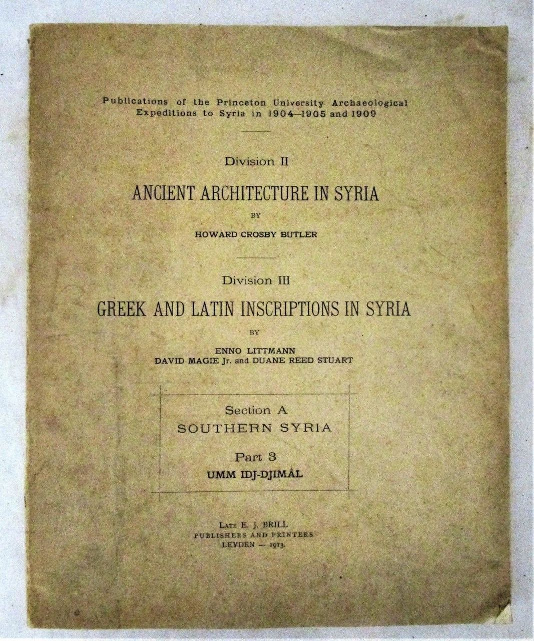 ANCIENT ARCHITECTURE IN SYRIA, Butler & Littmann - 1913 Photos Map ...
