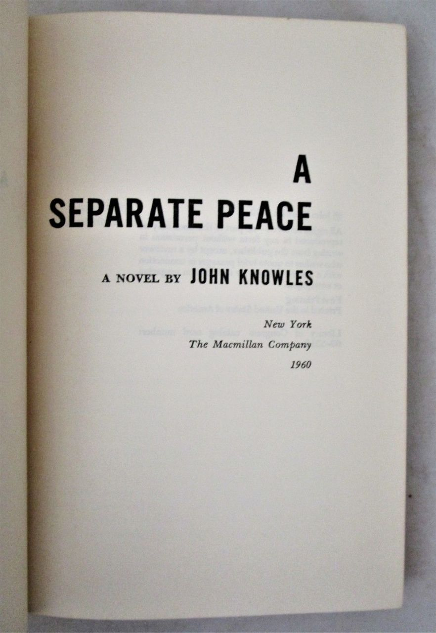 A SEPARATE PEACE, by John Knowles - 1960 [1st Ed] Vintage Fiction WWII Film YA