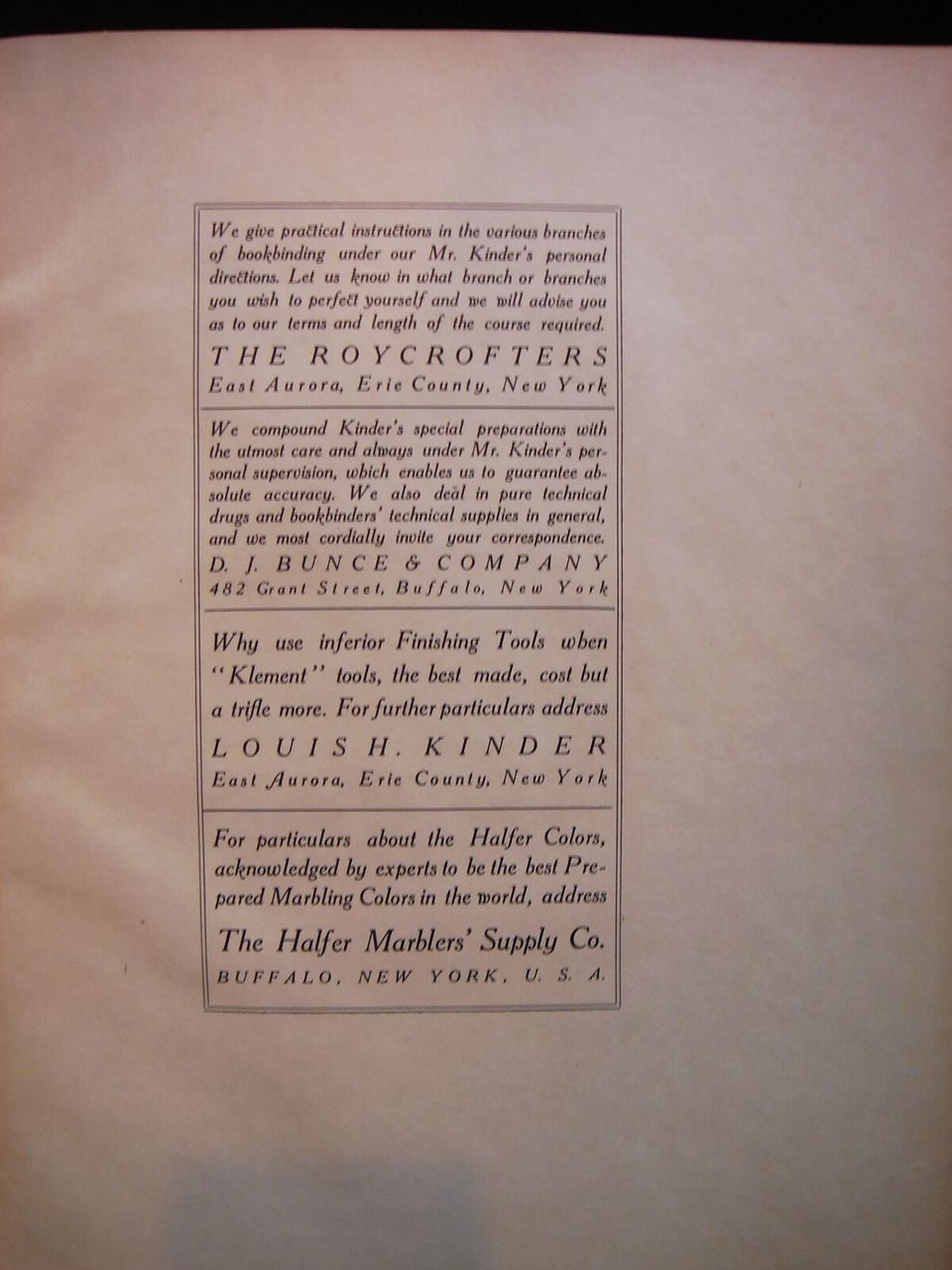 FORMULAS FOR BOOKBINDERS, by Louis Kinder - 1905 [Signed Ltd Ed]