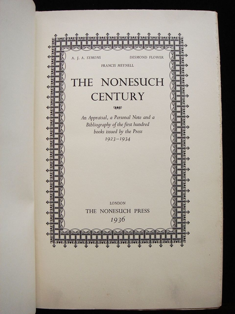 NONESUCH CENTURY -1936 Press History, F. Meynell ASL, Holbrook Jackson Review