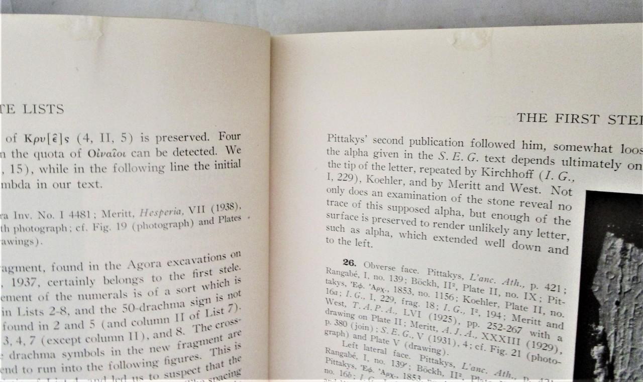 THE ATHENIAN TRIBUTE LISTS, by Benjamin Dean Meritt - 1939 [2 Vols]