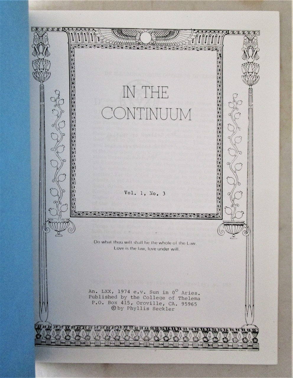 IN THE CONTINUUM, by Phyllis Seckler - 1973-75 [5 Issues]