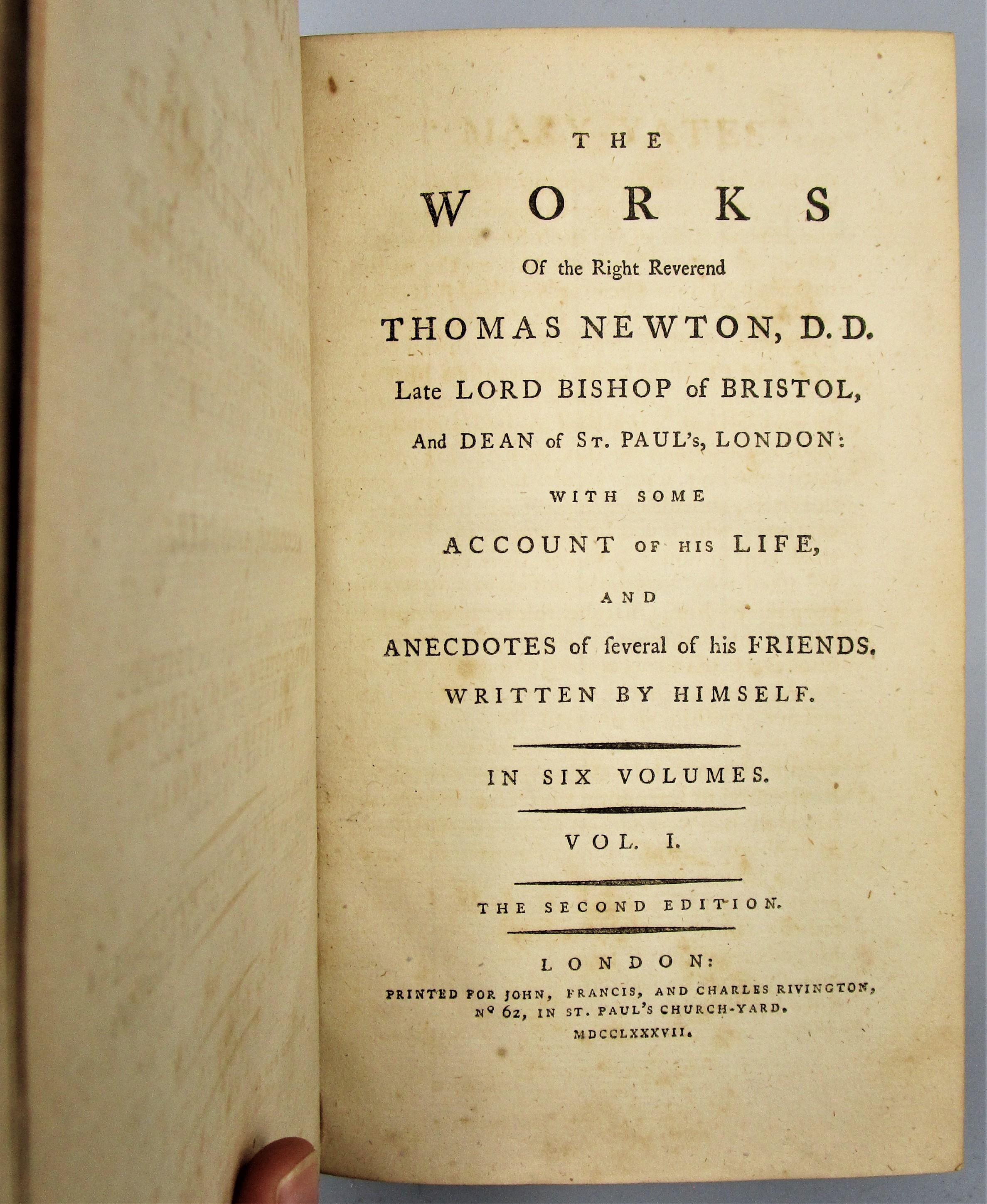 WORKS OF THE RIGHT REV. THOMAS NEWTON -1787 [6 Vols]