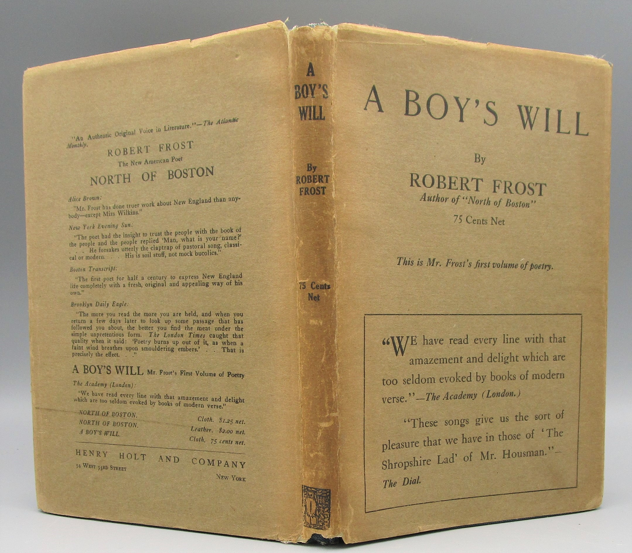 A BOY'S WILL, by Robert Frost - 1915 [1st US Ed]