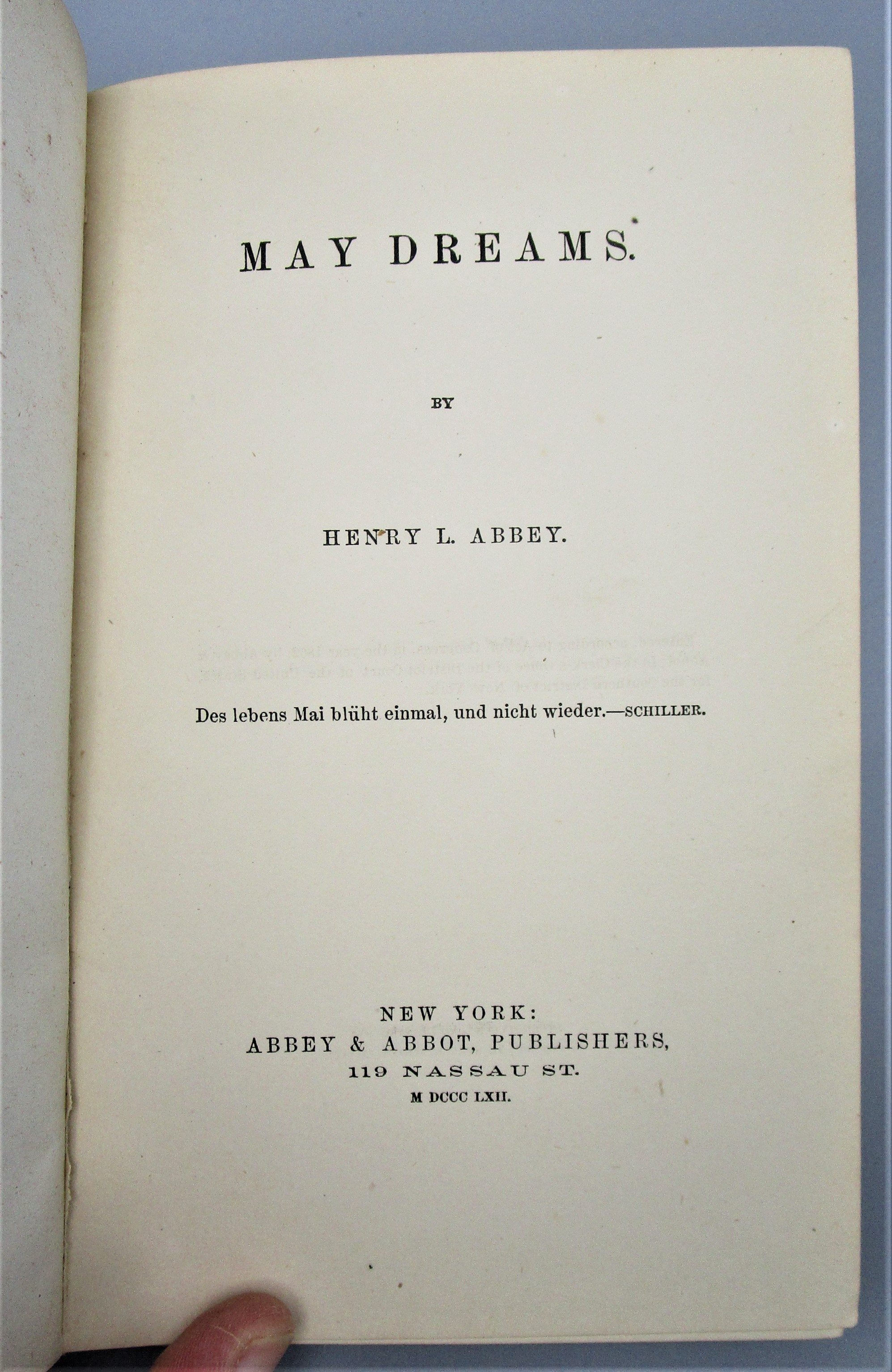 MAY DREAMS, by Henry L. Abbey - 1862 [1st Ed]