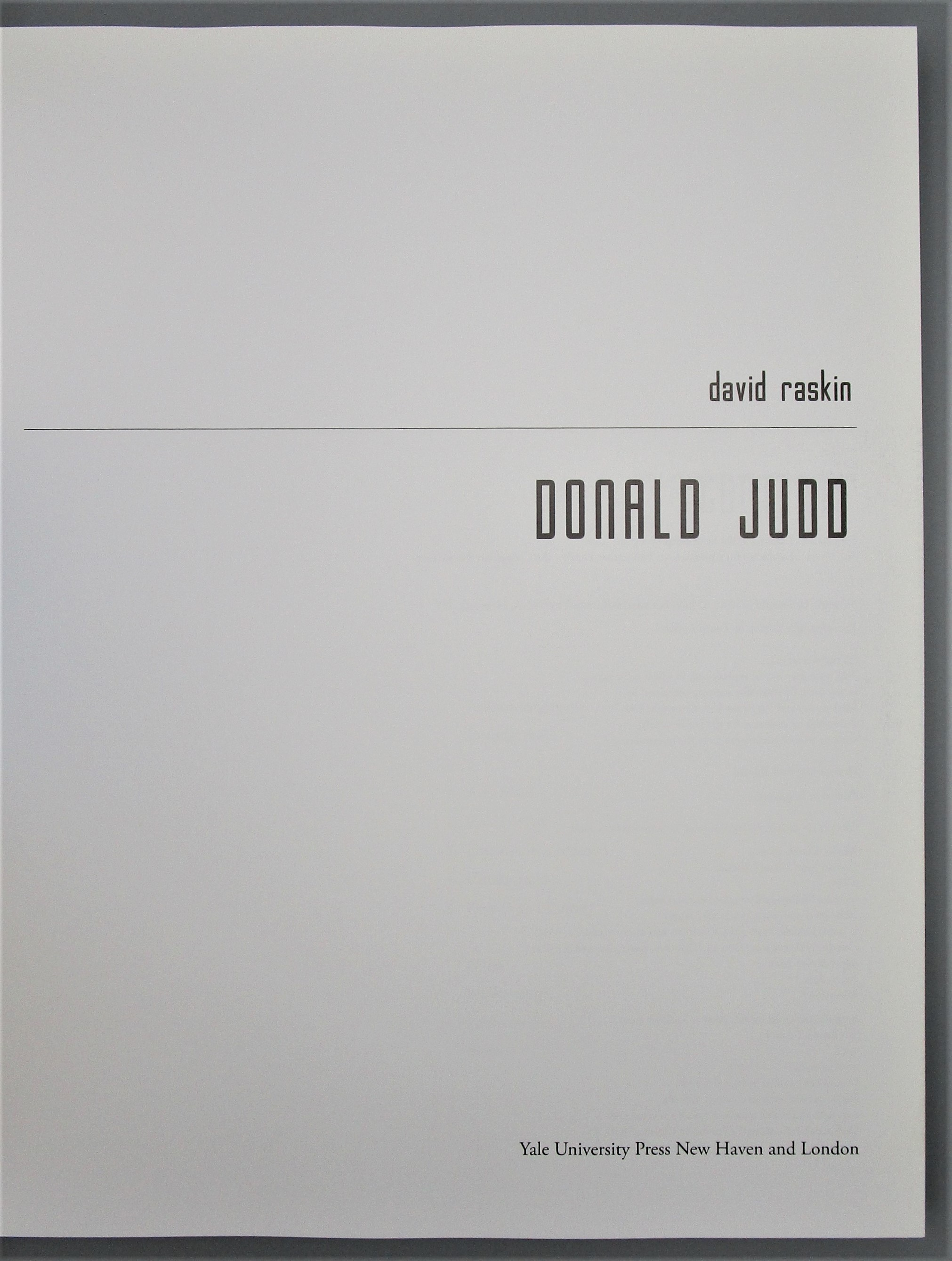 DONALD JUDD, by David Raskin - 2010
