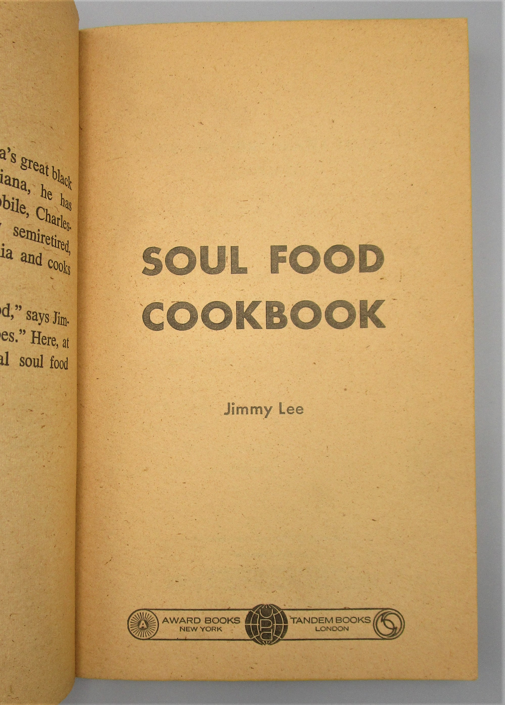 SOUL FOOD COOK BOOK, by Jimmy Lee - 1970